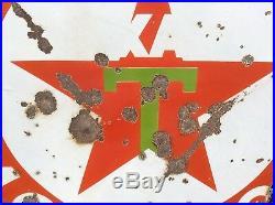 Vtg Texaco Gasoline Motor Oil Porcelain Orig 42 Double Sided Gas Station Sign