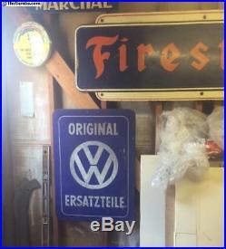 Vw Volkswagen Porcelain Dealership Enamel Service Reflective Sign Gas