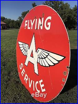 WOW! 6' Flying A Service DOUBLE sided Porcelain sign RARE Original early DSP 72