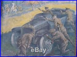 WWI era Automobilia painting sign, Quick Change Hubs, not porcelain