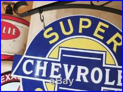 'chevrolet'' Ds 17''x20'' Porcelain Sign With A Hanging Bracket Used Made In Us