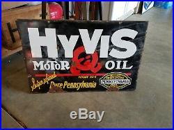 -vintage Hyvis Porcelain Motor Oil Sign